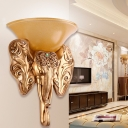 Yellow Glass Bowl Wall Sconce Lighting Rural 1-Light Living Room Wall Lighting Fixture with Elephant Deco in Gold