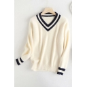 Fashion Womens Stripe Printed Long Sleeve V-neck Knit Relaxed Fit Pullover Sweater Top