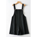 Womens Overalls Shorts Fashionable Solid Color Double-Pocket Rolled Cuffs Sleeveless Loose Fitted Overalls Shorts