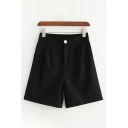 Womens Shorts Simple Solid Color Pleated Partially Elastic Waist A-Line Regular Fitted Tailored Shorts