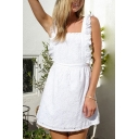 Lovely Girls Hollow out Stringy Selvedge Square Neck Open Back Short A-line Tank Dress in White