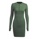 Stylish Womens Knit Solid Color Long Sleeve Deep V-neck Short Bodycon Dress