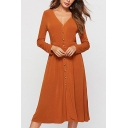Fashion Womens Plain Single Breasted Gathered Waist V Neck Long Sleeve Midi A-Line Dress in Orange
