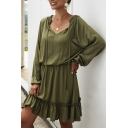 Casual Womens Solid Color Long Sleeve Drawstring V-neck Ruffled Short Pleated A-line Dress