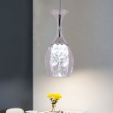 Wine Glass Ceiling Lamp Simplicity Clear Glass 1-Bulb Silver Pendant with Crystal Drop in Warm/White Light