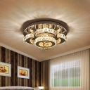 2-Tier Semi Mount Lighting Simple Beveled Crystal LED Chrome Ceiling Fixture for Bedroom