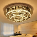 Tiered Circular Semi Flush Contemporary Clear Crystal LED Chrome Flush Mount Light Fixture in Warm/White Light