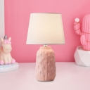 Bottle Night Lighting Macaron Porcelain 1-Light Study Room Table Lamp with Barrel Fabric Shade in White/Pink/Blue