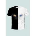 Creative T-Shirt 3D Cat Eye Colorblock Pattern Short Sleeve Round Neck Regular Fit T-Shirt for Men