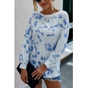 Leisure Womens Tie Dye Printed Long Sleeve Round Neck Relaxed T Shirt