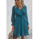 Popular Womens Polka Dot Printed Long Sleeve Surplice Neck Short Pleated A-line Dress