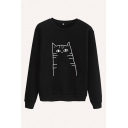 Cute Comic Cat Printed Round Neck Long Sleeve Regular Fitted Pullover Sweatshirt