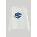 Stylish 3D UFO Pattern Sequins Round Neck Full Sleeve Regular Fitted Pullover Sweatshirt