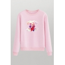 Fancy Floral Printed Crew Neck Long Sleeve Regular Fitted Pullover Sweatshirt