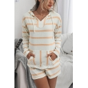 Leisure Womens Stripe Printed Long Sleeve Drawstring Pouch Pocket Relaxed Hoodie & Shorts Set
