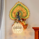 Rural Peacock Wall Lighting Ideas 1 Head Resin Wall Mounted Light Fixture in Yellow/Gold with Ball K9 Crystal Shade