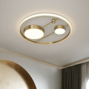 Round Close to Ceiling Lamp Retro Style Metal 16