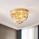 Gold/Black Bowl Flush Ceiling Light Modernism 3 Bulbs Clear Crystal Lighting Fixture for Corridor
