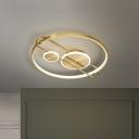 Round Metallic Flush Mount Light Minimalist LED Gold Close to Ceiling Lighting, 18
