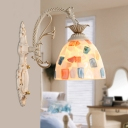 Shell Domed Wall Mounted Light Mediterranean 1/2-Light White Mosaic Patterned Wall Sconce with Carved Backplate