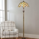 2 Lights Grid Dome Standing Light Baroque White Shell Pull Chain Floor Lamp with Beaded Pattern