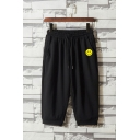 Stylish Mens Shorts Smile Face Pattern Pocket Drawstring Cuffed Mid Rise Regular Fitted Shorts