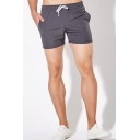 Stylish Mens Solid Color Fast Dry Elastic Waist Pocket Mid Rise Straight Fit Running Shorts
