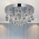 Round Bedroom Flush Mount Faceted Crystal Orbs 3-Bulb Modern Ceiling Light in Chrome