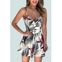 Womens Rompers Unique Leaf Floral Tassel Printed V-Neck Sleeveless Regular Fitted Scoop Neck Rompers