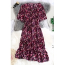Retro Ditsy Floral Print Ruffle Detail Tie Waist Surplice Neck Short Sleeve Mini A-Line Dress for Women