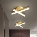 Linear Metal Flush Lamp Fixture Minimalist LED Gold Ceiling Flush Mount in Warm/White Light