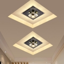 Gem Shaped Mini Crystal Ceiling Lamp Minimalism Black/Tan LED Flush Light in Warm/White Light