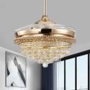 Teardrop Crystal Ball Ceiling Fan Light Modern Style 19