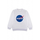 Trendy Round Neck Long Sleeve NASA Print Pullover Sweatshirt