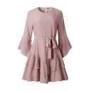 Hot Summer Solid Color Bow Tie Ruffle Tiered 3/4 Flared Cuff Sleeve Crew Neck Short A-line Dress for Girls