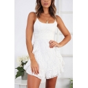 White Trendy Womens Solid Color Flower Print Ruffle Trim Spaghetti Straps Sleeveless Short Cami Dress for Party