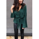 Designer Unique V Neck Long Sleeve Tied Waist Plain Green Shirt Blouse