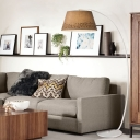 Barrel Drawing Room Task Floor Lamp Fabric 1 Light Modernism Standing Lighting with Bent Arm in Beige