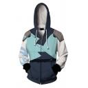 Basic Mens Hooded Sweatshirt Contrasted Abstract Arrow Letter Pattern Cosplay 3D Drawstring Zipper Fly Long Sleeve Slim Fit Hooded Sweatshirt