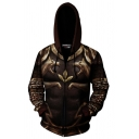 Classic Mens Hoodie Cosplay 3D Abstract Chain Lion Pattern Zipper up Slim Fitted Long Sleeve Hoodie