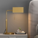 Simple Cuboid Nightstand Lighting Metallic 1 Head Bedside Desk Lamp with Pull Chain in Gold