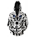 Fashion 3D Hoodie Cartoon Animal Wolf Pattern Zipper Drawstring Pocket Regular Fit Long-sleeved Hooded Sweatshirt for Men