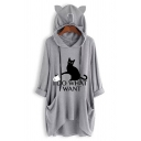 Stylish Half Sleeve Cartoon Cat Girl Printed Dip Hem Casual Loose Loneline Oversize Hooded T-Shirt