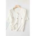 Simple White Knitted Short Sleeve Crew Neck Button Up Chest Pockets Regular Fit Tee Top for Ladies