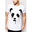 Retro Mens Tee Top Abstract Panda Face Splash Pattern Short Sleeve Regular Fitted Crew Neck Tee Top