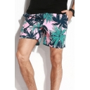 Vacation Pink All Over Tree Printed Drawstring Waist Relaxed Fit Shorts for Men