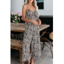Womens Jumpsuits Simple Leopard Skin Printed Spaghetti Strap Regular Fitted Sleeveless Cropped Wide Leg Jumpsuits