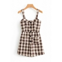 Womens Rompers Unique Plaid Printed Single-Breasted Sleeveless Strap Regular Fitted A-Line Rompers with Pockets