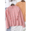 Girls Fancy Plaid Patterned Stringy Selvedge Long Sleeve Collarless Button Up Relaxed Shirt Top