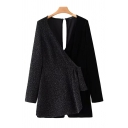 Retro Womens Rompers Metallic Velvet Patchwork Keyhole-Back Long Sleeve Surplice Neck Loose Fitted Rompers